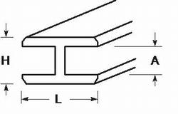 Profilé plastique H 3,0 x 4,7 x 6,8 x 320 mm