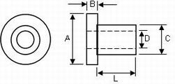 Entretoise - isolateur pour vis M 3, longueur 2 mm